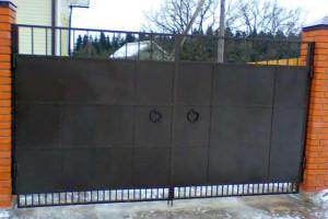 Распашные металлические ворота для дачи